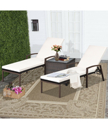 2 pcs Patio Rattan Adjustable Back Lounge Chair - Color: White - £392.70 GBP