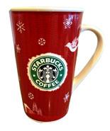 Starbucks Red & White Tall Coffee Cup Mug 2008 Holiday Mermaid 16 ounces Tea Mug - $18.60