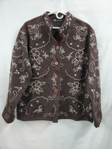 Women's Casual Studio Embroidered Button Brown Jacket XL 0684 - $12.60