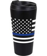 Thin Blue Line Travel Coffee Mug Insulated Cup 16oz Black Thermos US Flag - $14.99