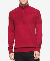 Calvin Klein Men's Mania Red Half-Zip Multi-Texture Turtleneck - Large - $24.95