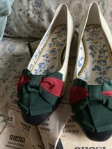 Authentic Gucci Ivory Sylvie Green And Red Web Bow Flats  Size 38 / US 8 512464 - $549.99