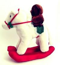 "Dakin Vintage Christmas Rocking Horse 10"" White Plush w/ Brown Bear Ride... - $24.01"