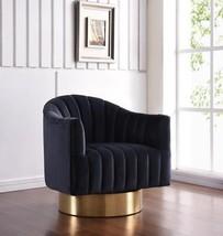 Modern Black Velvet Gold Swivel Base Chair Meridian Furniture 520 Farrah - $765.00