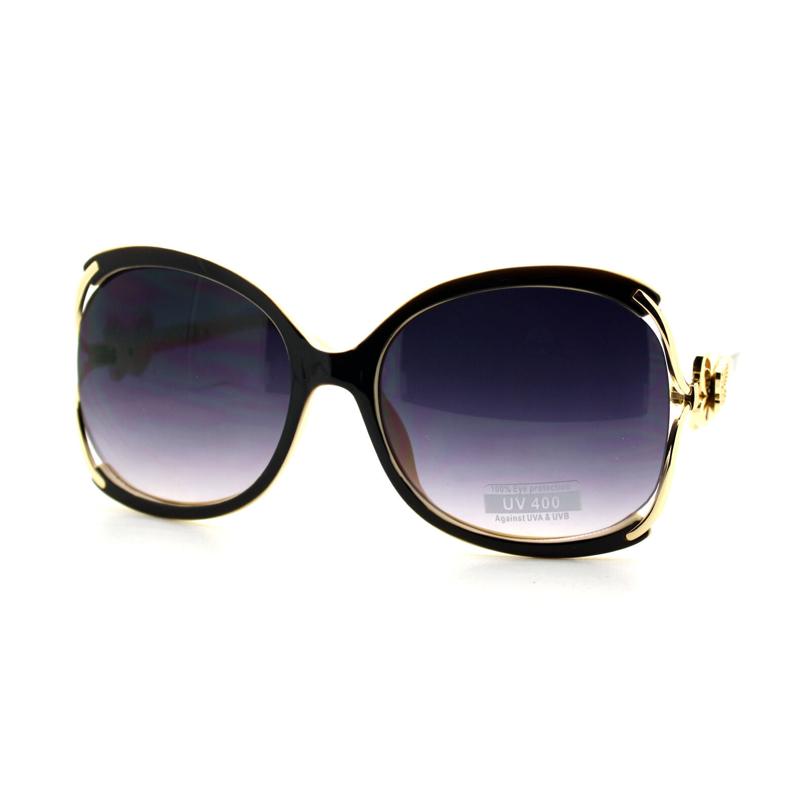 Womens Oversized Square Sunglasses Butterfly Adornment UV 400