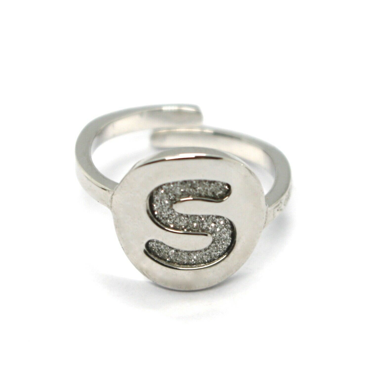 REBECCA BRONZE RING, LETTER S, INITIAL WITH GLITTER, MADE IN ITALY, ADJUSTABLE