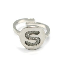 REBECCA BRONZE RING, LETTER S, INITIAL WITH GLITTER, MADE IN ITALY, ADJUSTABLE image 1