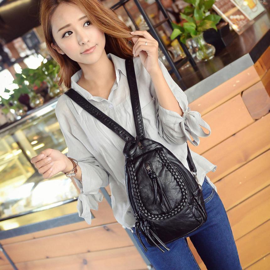New 2017 Soft Leather Women Backpacks Korean Style Ladies Strap Mochila Shoulder