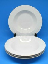 """Libbey Embossed Holly Gold Trim White 4 Rim Soup Bowls 9"""" Holiday Bundle... - $12.73"""