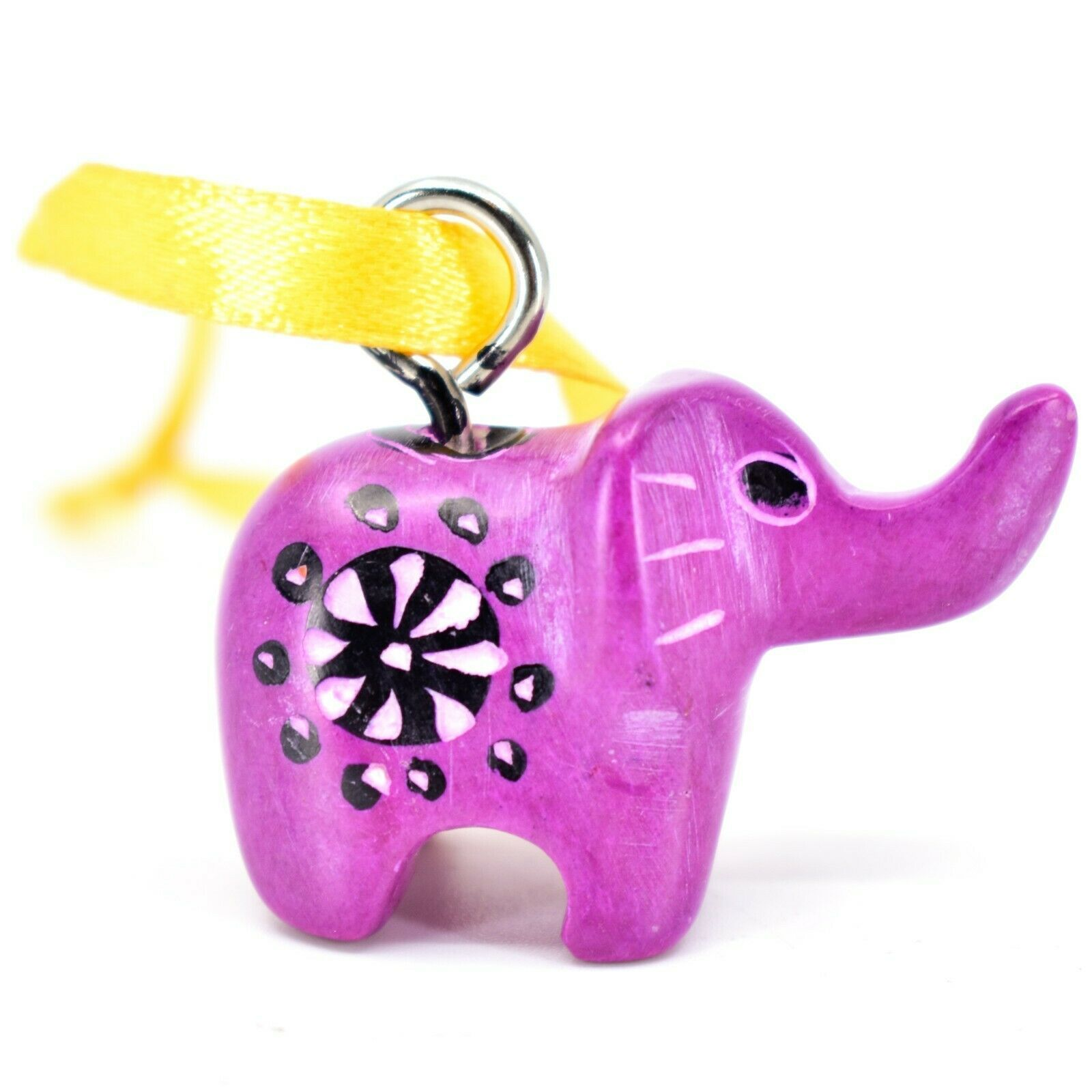 Vaneak Group Hand Crafted Carved Soapstone Fuchsia Elephant Ornament Figure