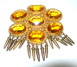 VINTAGE ART DECO BRASS ANTIQUE HUGE OPEN BACK YELLOW RHINESTONE GLASS BR... - $325.00