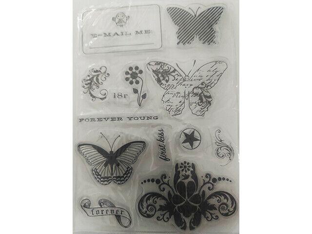 Butterflies, Flourishes, Sentiments Clear Stamp Set
