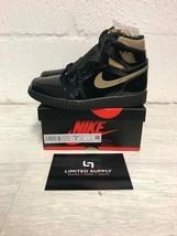 Nike Air Jordan 1 Retro High Black Metallic Gold 4 Uk 4.5 Us Off 555088-032 - $332.45