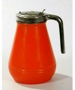 Vintage Mid Century Syrup Dispenser Orange Glass Metal Handle Pour Top - $19.24