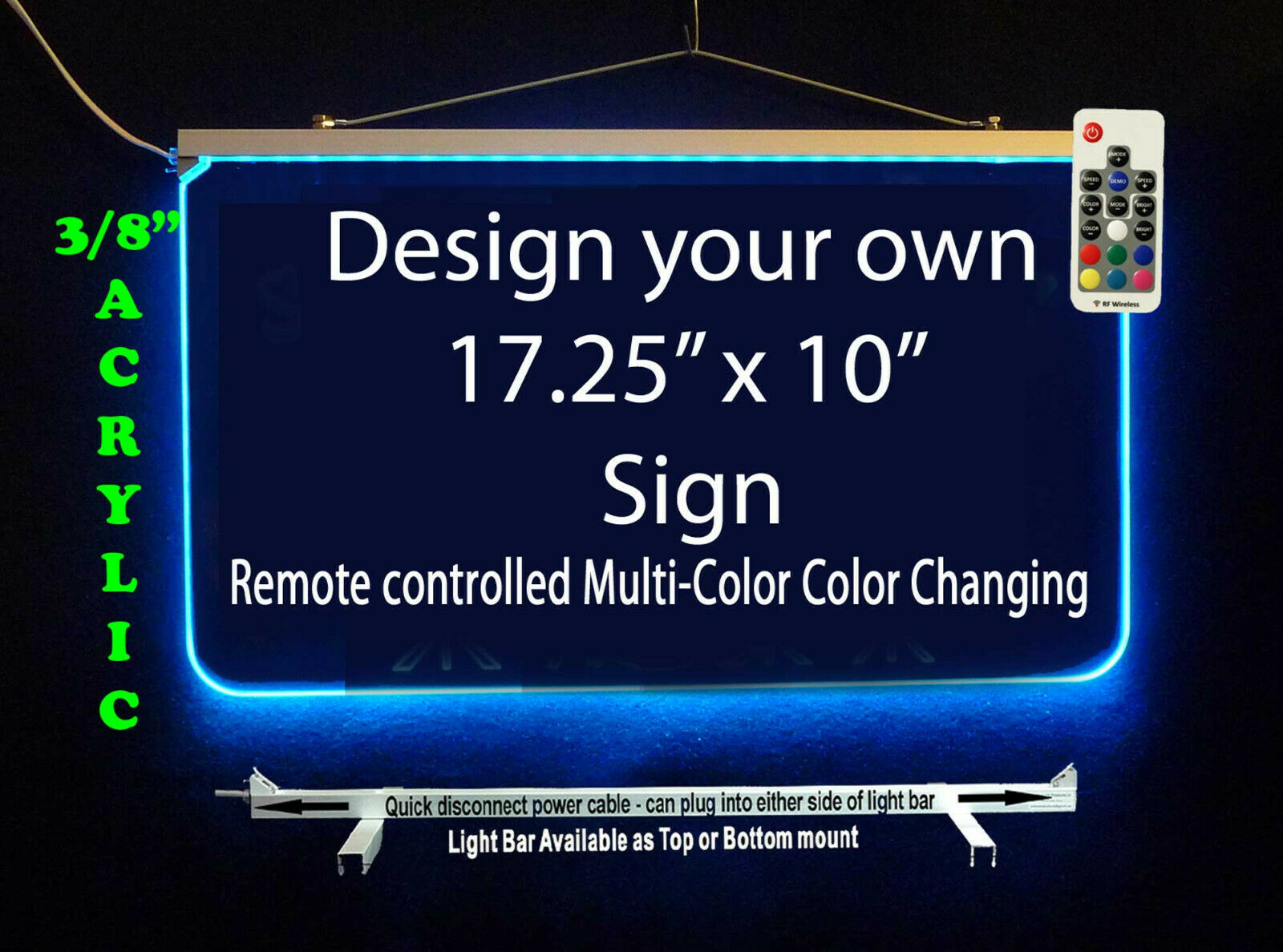 "Primary image for Personalized LED Sign-Design your own Sign,  17.25"" x 10"" Multi-Color Changing"