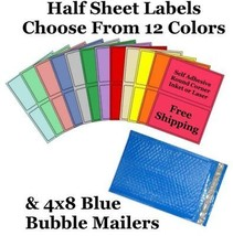 4x8 ( Blue ) Poly Bubble Mailers + Half Sheet Self Adhesive Shipping Labels - $1.99+