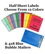 4x8 ( Blue ) Poly Bubble Mailers + Half Sheet Self Adhesive Shipping Labels - $2.99+