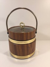 Vintage Gold and Wood Look Ice Bucket With Lid - $19.99