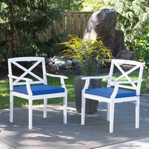 Whitewash Coastal SET OF 2 Outdoor Wood Patio Arm Chairs Nautical Blue C... - $326.20