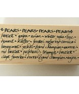 A Stamp in the Hand Pears Varieties Writing Words Bartlett Anjou Kitchen... - $9.00