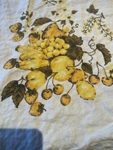 Vintage Tablecloth Yellow Wonder Strawberries Peaches  Floral Design 49 ... - $19.99