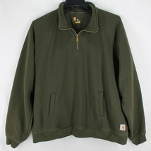 Carhartt 1/4 Zip Sweatshirt Mens 2XL Olive Green Relaxed Fit Pullover Po... - $39.99
