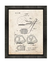 Golf Club Patent Print Old Look with Beveled Wood Frame - $24.95+