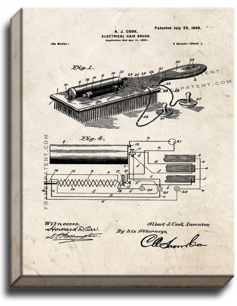 Primary image for Electrical Hair-brush Patent Print Old Look on Canvas