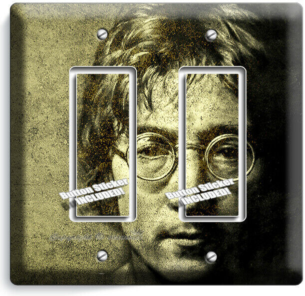 JOHN LENON THE BEATLES 2 GFCI LIGHT SWITCH WALL PLATE MUSIC STUDIO ROOM HD DECOR