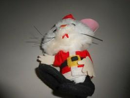 "Small Santa Claus Mouse Furry 7"" Figure Ornament - $2.97"