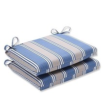Pillow Perfect Indoor/Outdoor Blue/Tan Striped Seat Cushion, Squared, 2-Pack - $44.89