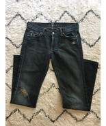 7 for All Mankind Low Rise Bootcut Black Dark Wash Distressed Jeans Size 28 - $28.88