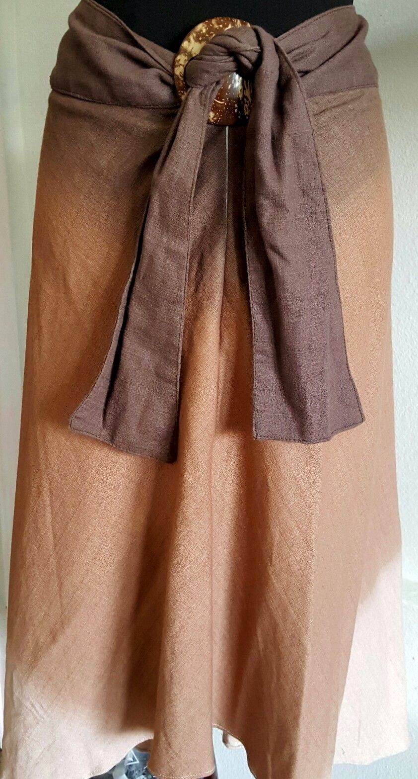 Sarong Skirt Brown Orange Cream Dress Zips Shell Closure Porn Boutique Size 30
