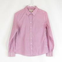 Purple white striped cotton blend BANANA REPUBLIC stretch button down bl... - $19.99