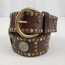 Genuine Leather Belt Womens 29 Brown Studs Grommets Copper Brass Silver ... - $25.89