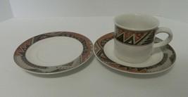 Christopher Stuart Montezuma 1 Coffee Cup 2 Saucers Stoneware Y2240 Dinn... - $13.31