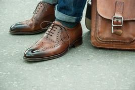 Handmade Men's Brown Toe Burnished Heart Medallion Dress Leather Oxford Shoes image 1