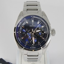 FESTINA WATCH QUARTZ MOVEMENT, 46 MM CASE, 5 ATM, DATE DAY, 24 HOURS, BLUE FACE