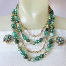 Vintage Green Shades Beads Goldtone Chains 5 Strand Necklace Earrings Ho... - $22.49