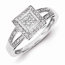 STERLING SILVER 0.2 CT SQUARE SHAPED HALO DIAMOND CLUSTER RING - SIZE 7 - £191.42 GBP