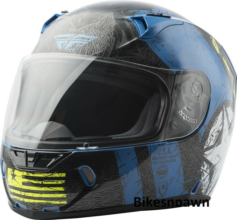 2XL Fly Racing Revolt Liberator Motorcycle Helmet Gloss Blue/Hi Viz DOT & Snell