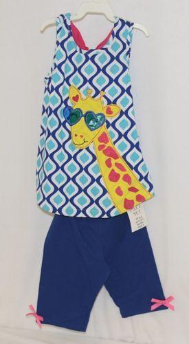 Rare editions Giraffe Shirt Bike Short 2 Piece set Royal blue Size 5