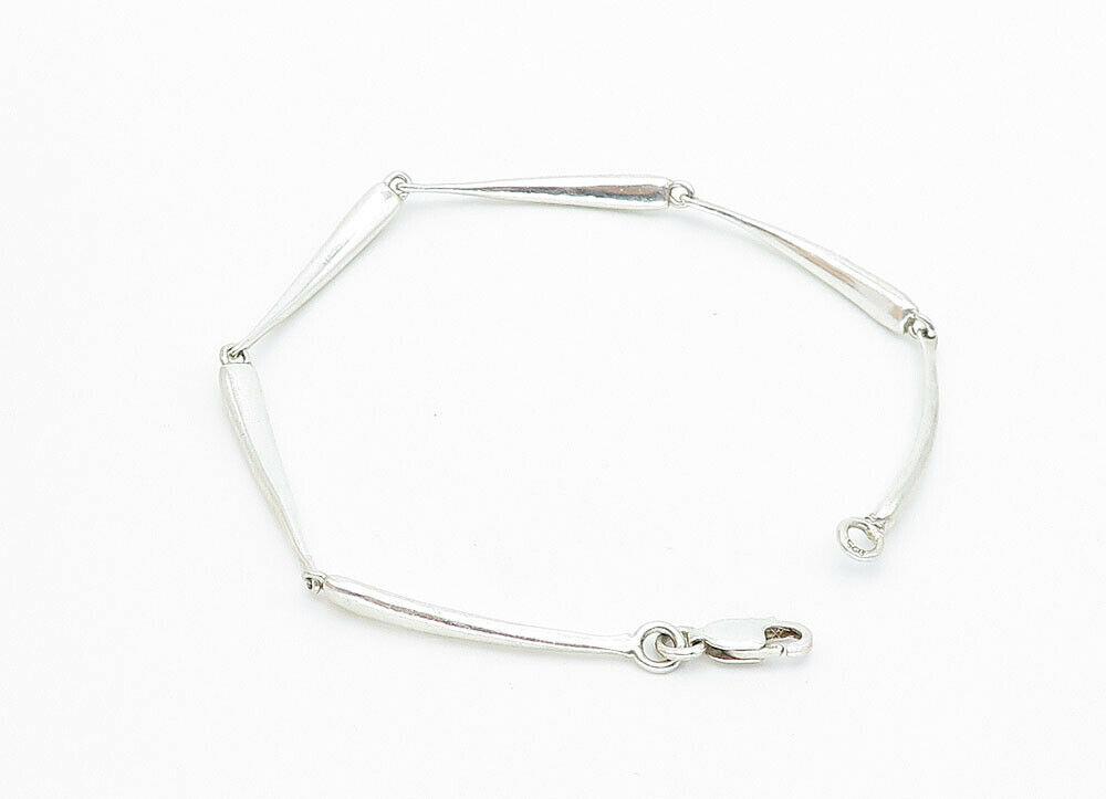 925 Sterling Silver - Vintage Shiny Smooth Bar Link Chain Bracelet - B5932