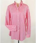RALPH LAUREN Size 14W New Pink White Striped Shirt Button Down Top - $29.99