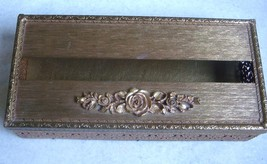 ​​Vintage Ornate Filigree Gold Metal Tissue Kleenex Box Holder Floral Sc... - $29.70