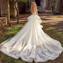 Floral Lace Crystal Appliques Mermaid Wedding Dresses With Detachable Train image 2