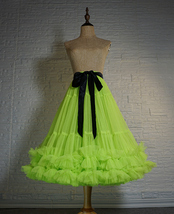 Copen Blue Layered Midi Tulle Skirt Plus Size A-line Layered Puffy Midi Skirt  image 11