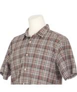 Patagonia Organic Cotton Brown Plaid Short Sleeve Casual Shirt Mens Large - $29.52