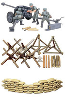 3 Tamiya Military Models - 75 mm Pak 40/L46, Sand Bags and Barricades Sets - $30.68