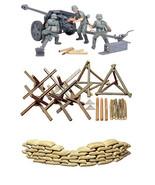 3 Tamiya Military Models - 75 mm Pak 40/L46, Sand Bags and Barricades Sets - $30.68